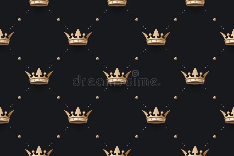 Le bagout sans couture et le roi d'or couronnent avec le diamant illustration de vecteur