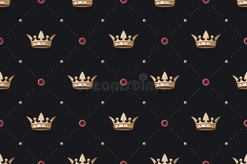 Le bagout sans couture et le roi d'or couronnent avec le diamant illustration libre de droits