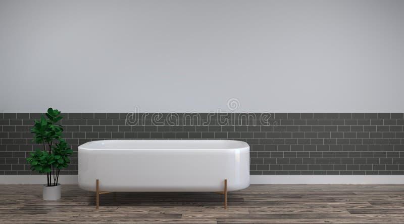 Le bain blanc est sur les conceptions intérieures de maison de fond de pièce vide en bois propre de plancher, articles sanitaires illustration libre de droits