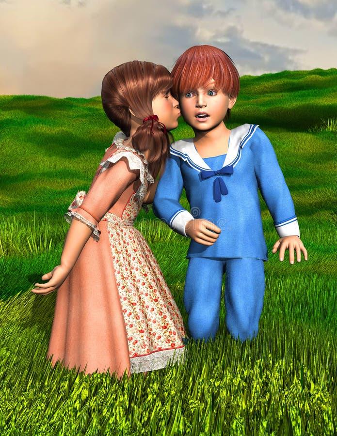 Le baiser d'amour de surprise illustration libre de droits