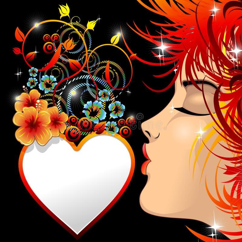 Le baiser de la fille sur le coeur Valentine floral ornemental illustration de vecteur