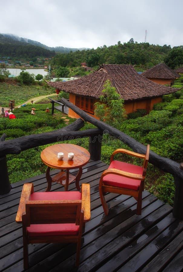Le balcon de forme de vue regardant des agriculteurs sélectionnaient des feuilles de thé pour des traditions à la nature de plant photos stock