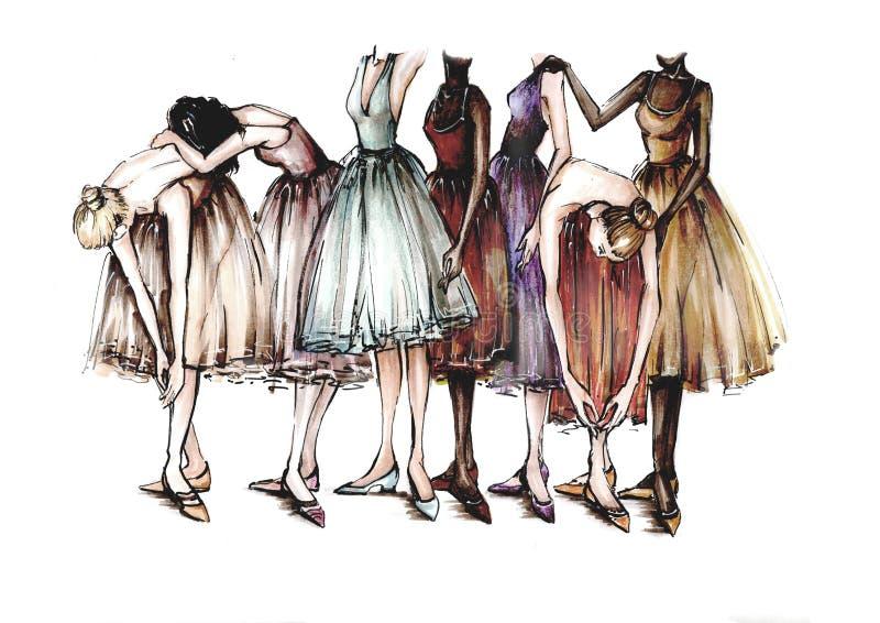 Le ballerine sono nella posa di ballo Indicatori dell'illustrazione illustrazione di stock