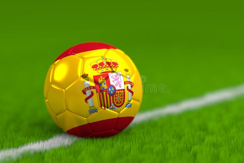 Le ballon de football avec le drapeau espagnol 3D rendent photo stock