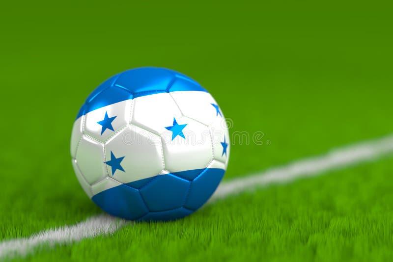 Le ballon de football avec le drapeau hondurien 3D rendent illustration libre de droits