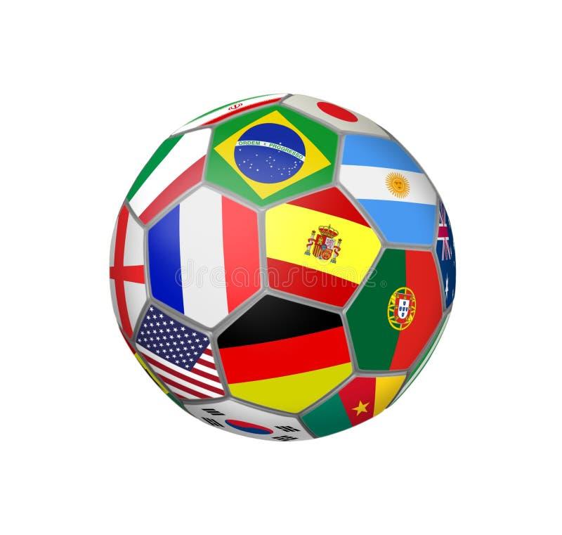 Le ballon de football avec la coupe du monde Teams des drapeaux illustration libre de droits