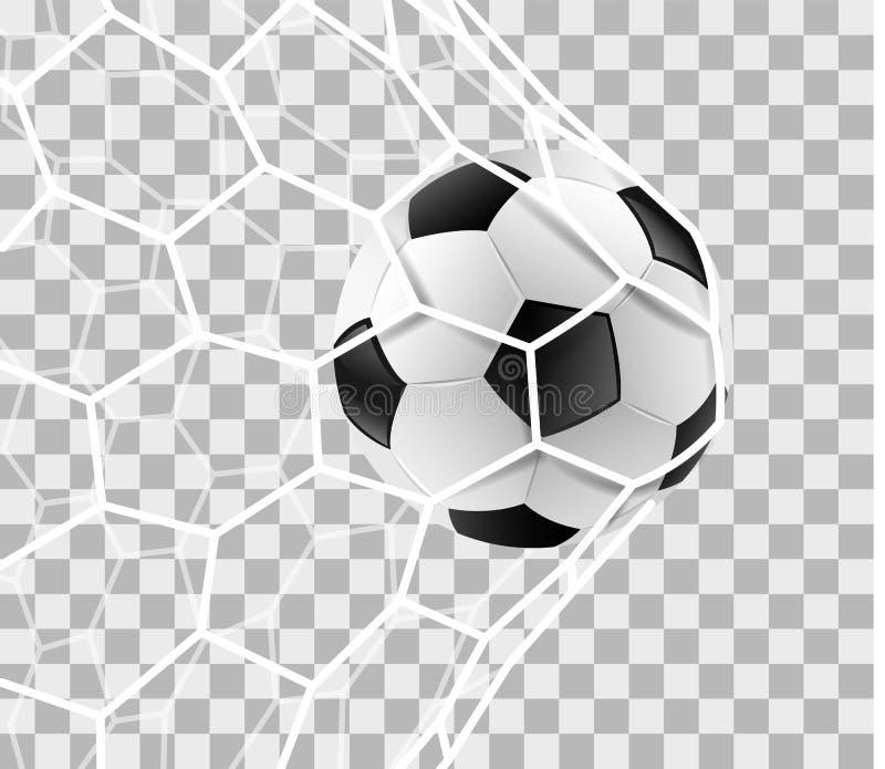 Le ballon de football dans un filet de but a isolé le fond de vecteur illustration de vecteur