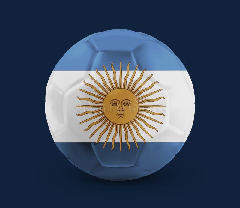 Le ballon de football du football avec le drapeau national a imprimé là-dessus illustration stock