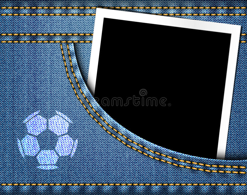 Le ballon de football sur des jeans et le cadre vide de photo dans des blues-jean empochent illustration de vecteur