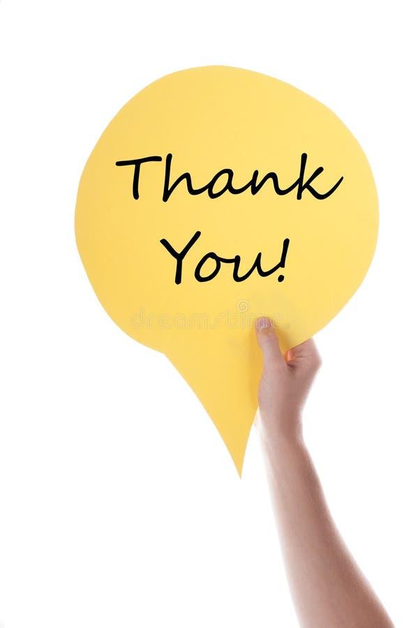 Le ballon jaune de la parole avec vous remercient photographie stock