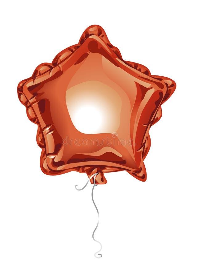 Le ballon rouge réaliste de l'aluminium 3D sous forme d'étoile avec se reflète d'isolement sur le fond blanc Élément de fête de d illustration de vecteur