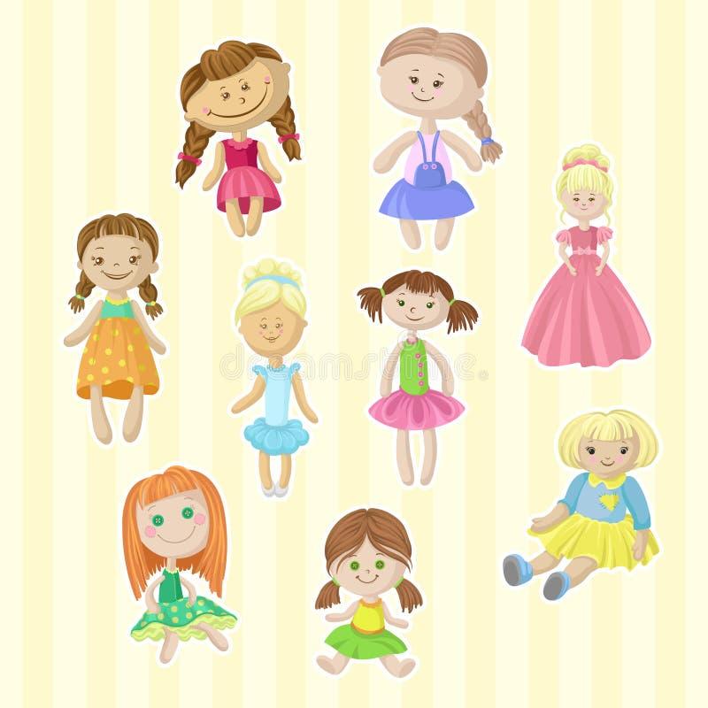 Le bambole femminili sveglie hanno messo, giocattoli adorabili per le illustrazioni di vettore del fumetto delle bambine illustrazione di stock