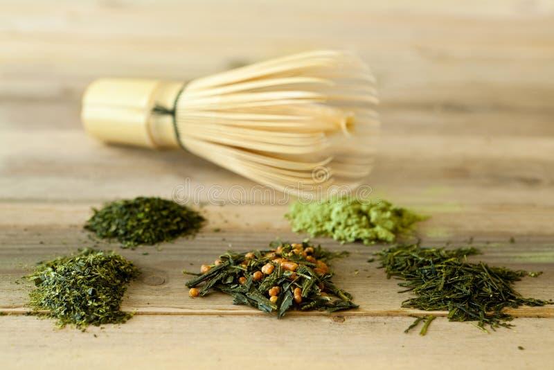 Le bambou battent et thé vert images libres de droits
