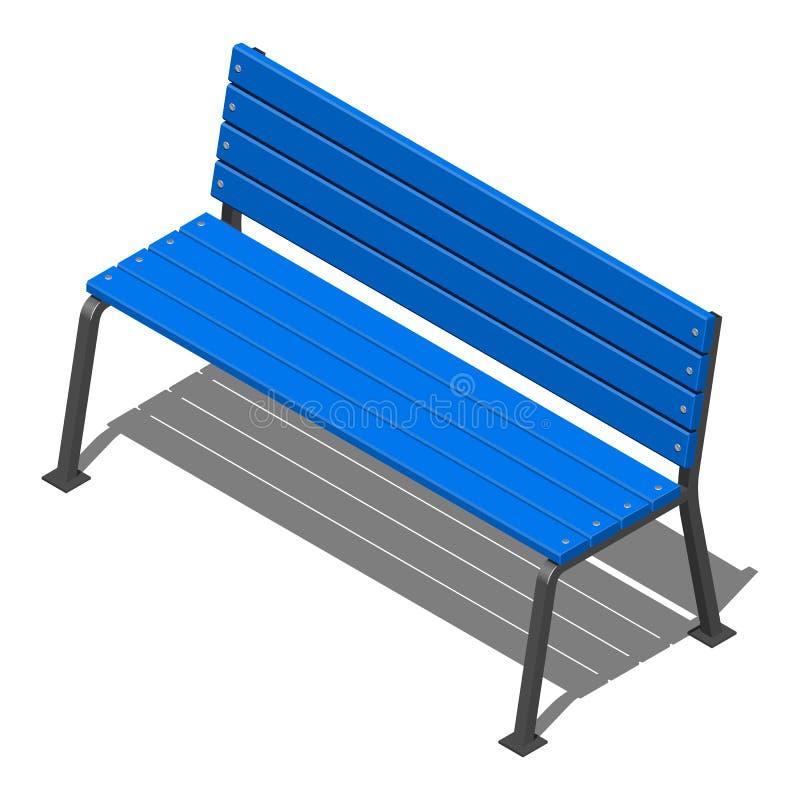 Le banc bleu de rue fait de lamelles en bois sur des appuis en métal, dirigent le modèle isométrique sur un fond blanc illustration libre de droits
