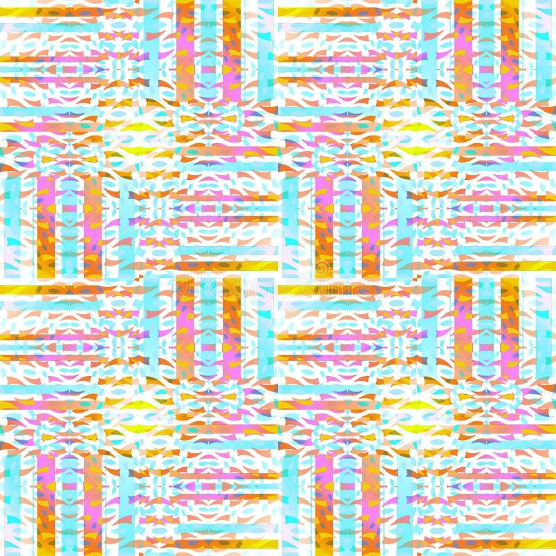 Le bande complesse senza cuciture regolari modellano il bianco marrone giallo arancione viola blu-chiaro spostato royalty illustrazione gratis