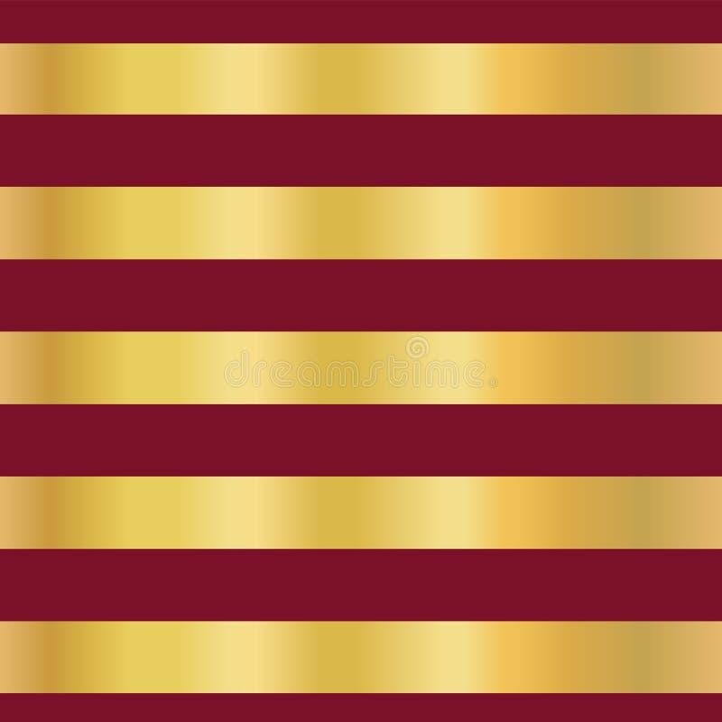 Le bande della stagnola di oro sul vettore senza cuciture rosso modellano il fondo Linee dorate orizzontali Disegno elegante Nata illustrazione vettoriale