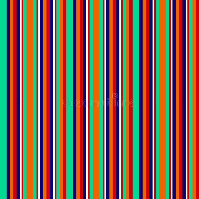 Le bande geometriche astratte senza cuciture vector il fondo con le linee verticali variopinte bianco rosso blu scuro arancio del royalty illustrazione gratis