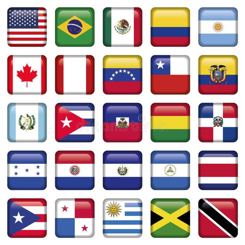Le bandiere americane hanno quadrato le icone illustrazione di stock