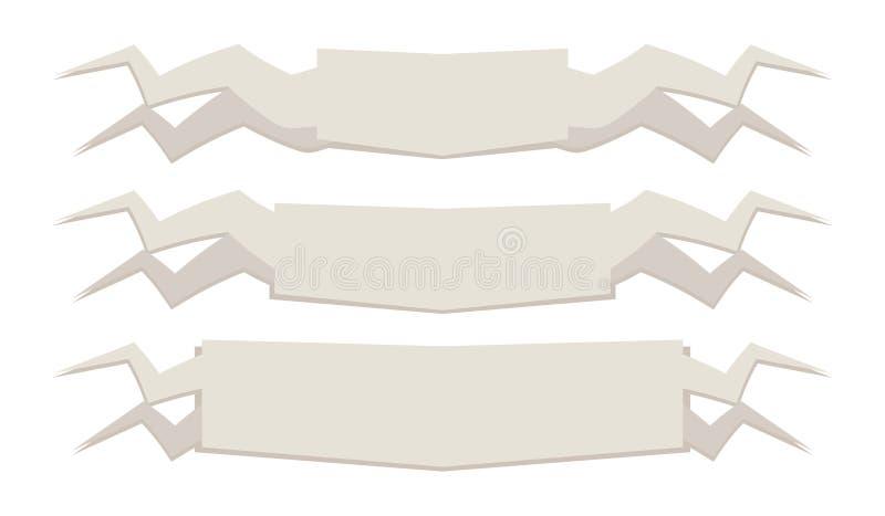 Le bandiere dei rotoli dei segni delle insegne di beige leggero con gli angoli taglienti delle dimensioni differenti tre pezzi ha illustrazione di stock