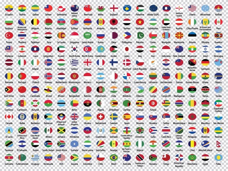 Le bandiere del mondo Raccolta-hanno arrotondato le bandiere illustrazione di stock