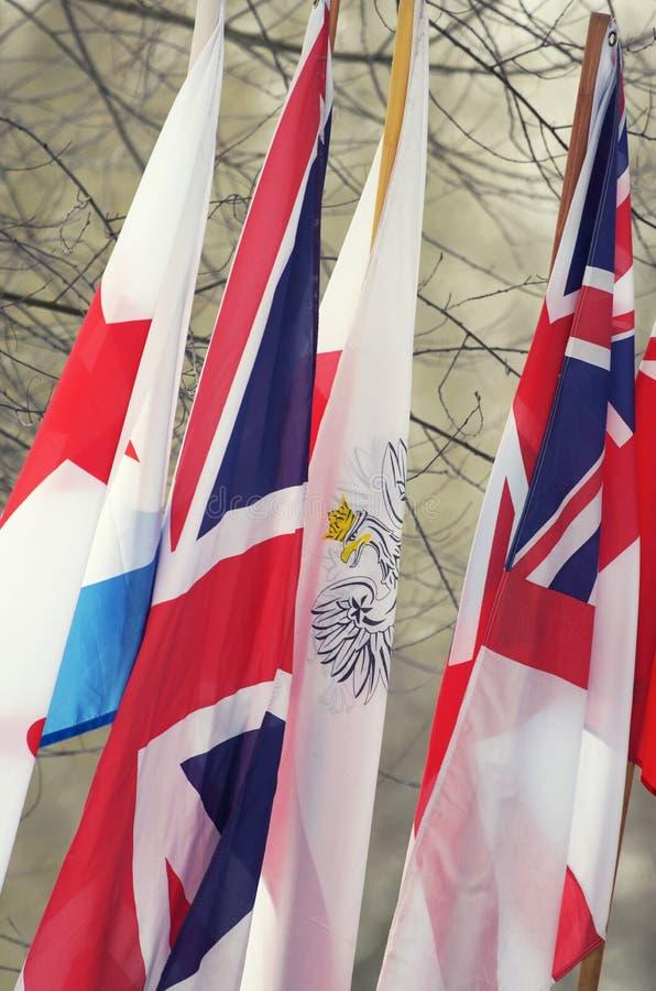 Le bandiere della coalizione alleata di anti-Hitler nella seconda guerra mondiale immagini stock