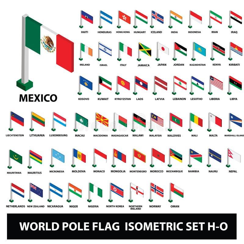Le bandiere della raccolta Palo dei paesi del mondo inbandiera l'insieme isometrico H-O illustrazione di stock