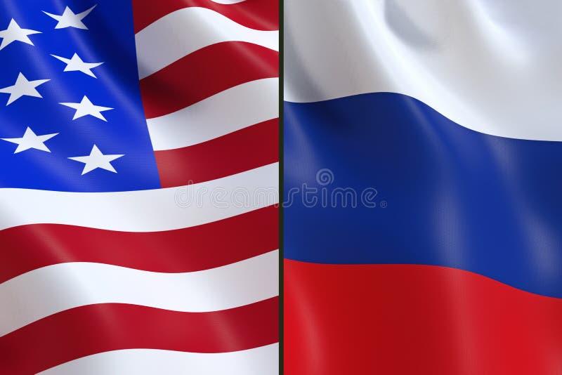 Le bandiere della Russia e di U.S.A., nell'opposizione illustrazione vettoriale