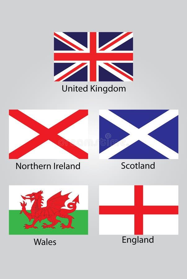 Le bandiere di Britannici Irlanda del Nord Scozia Galles e dell'Inghilterra royalty illustrazione gratis