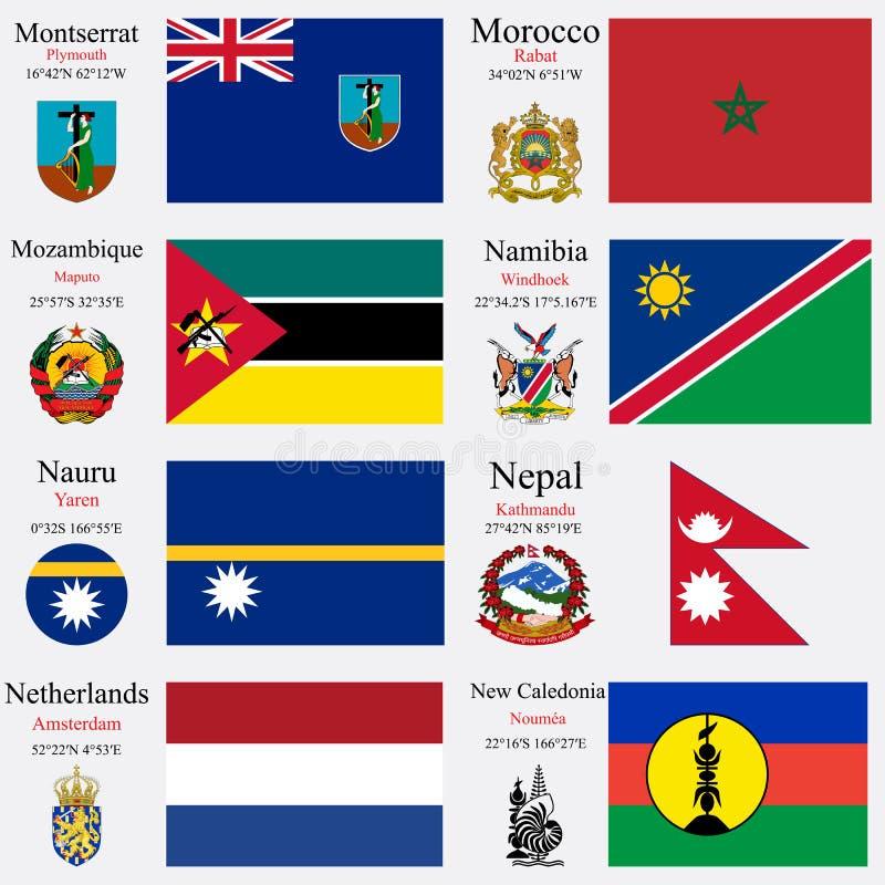 Le bandiere ed i capitali del mondo hanno messo 16 illustrazione vettoriale