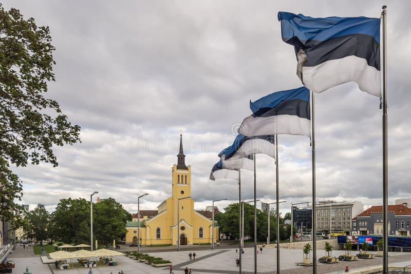 Le bandiere nazionali dell'Estonia che ondeggiano alla libertà quadrano vicino alla chiesa di St John, nel centro storico di Tall fotografie stock libere da diritti