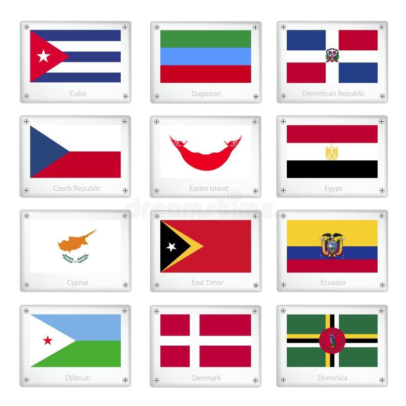 Le bandiere nazionali sui piatti di struttura del metallo illustrazione vettoriale
