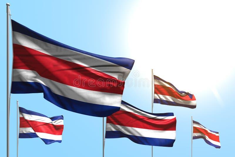 Le 5 bandiere sveglie di Costa Rica stanno ondeggiando sul fondo del cielo blu - tutta l'illustrazione della bandiera 3d di occas illustrazione vettoriale