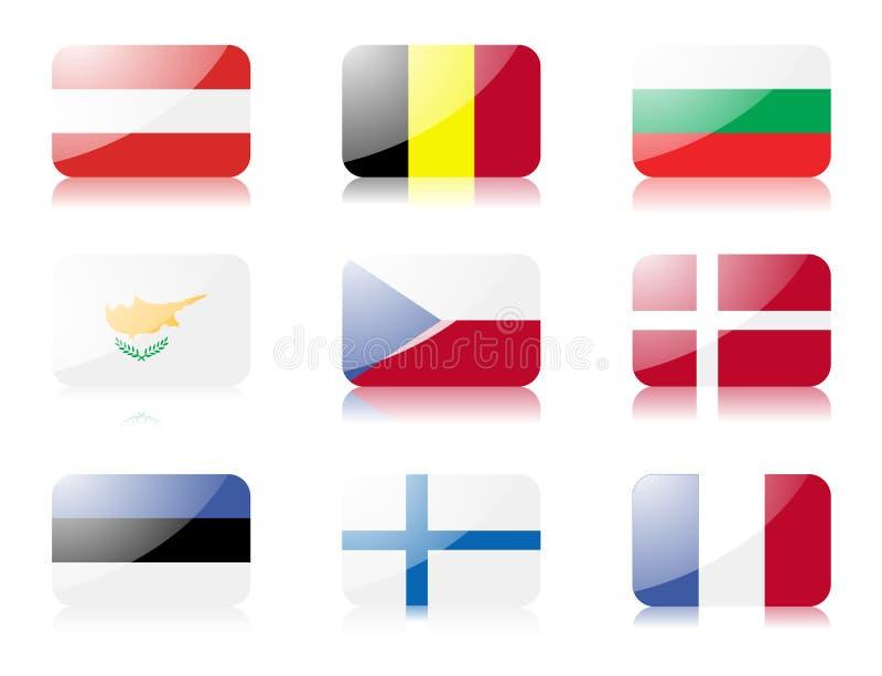 Le bandierine del sindacato europeo hanno impostato 1 royalty illustrazione gratis