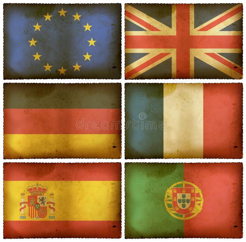 Le bandierine dell'annata hanno impostato Europa illustrazione vettoriale