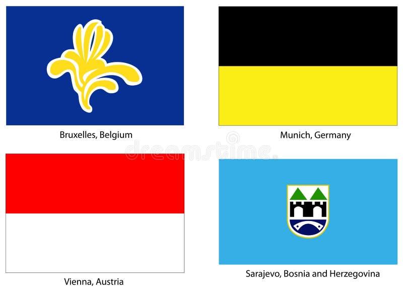 Le bandierine europee della città hanno impostato illustrazione di stock