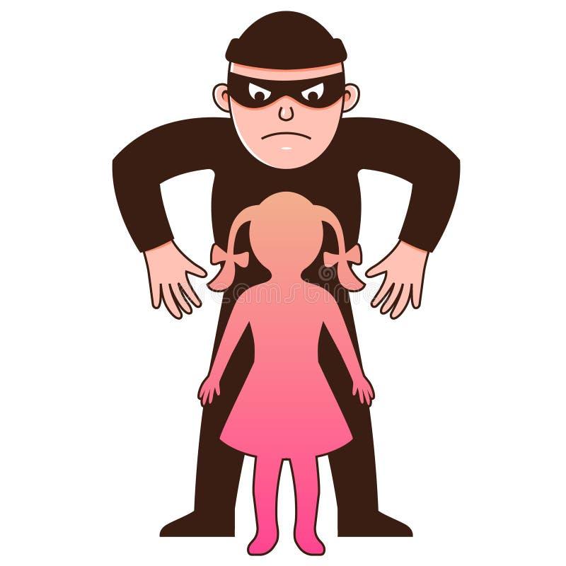 Le bandit d'homme enl?ve l'enfant caract?re illustration de vecteur