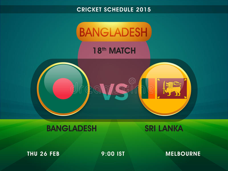Le Bangladesh contre Sri Lanka, programme 2015 de match de cricket illustration libre de droits