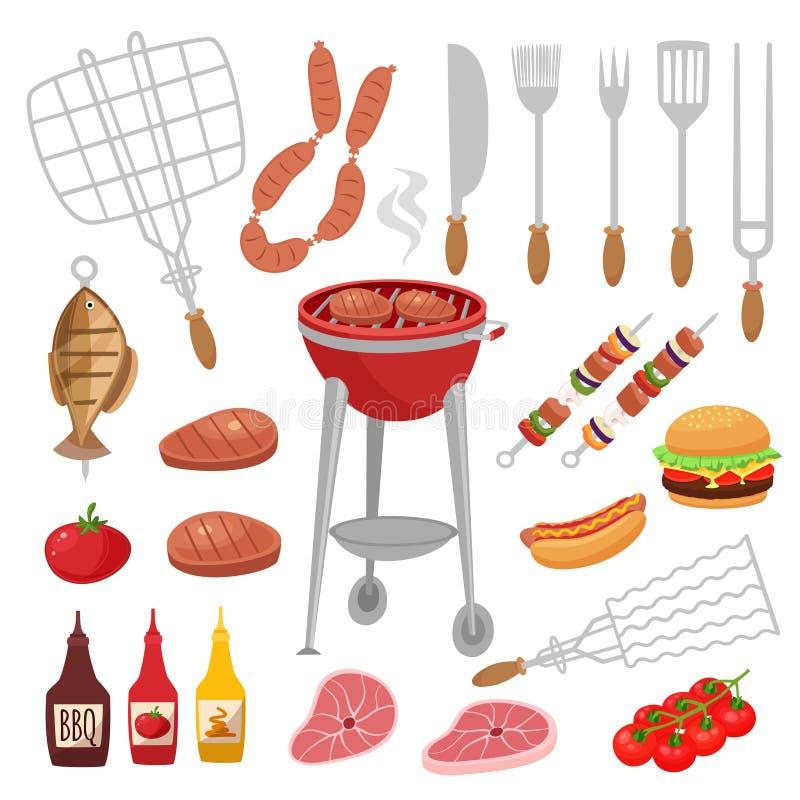 Le barbecue de BBQ a isolé l'ensemble d'éléments avec les bouteilles extérieures d'installation de gril de l'illustration crue de illustration stock