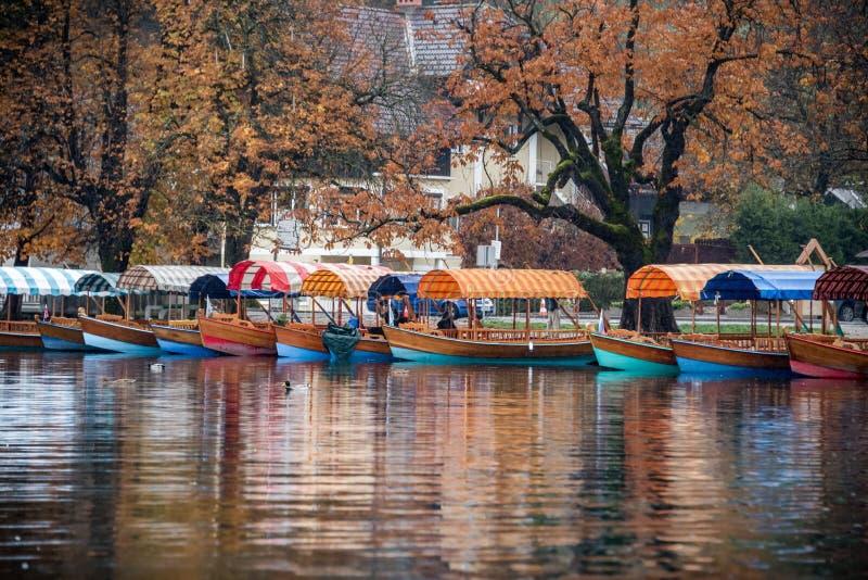 Le barche di Pletna sul lago hanno sanguinato la Slovenia fotografia stock libera da diritti