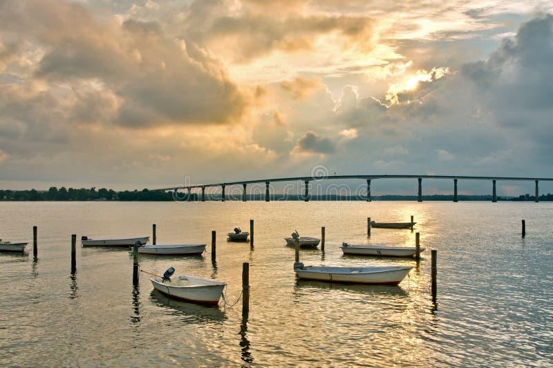 Le barche hanno attraccato nella baia di Chesapeake in Solomons Isl fotografia stock