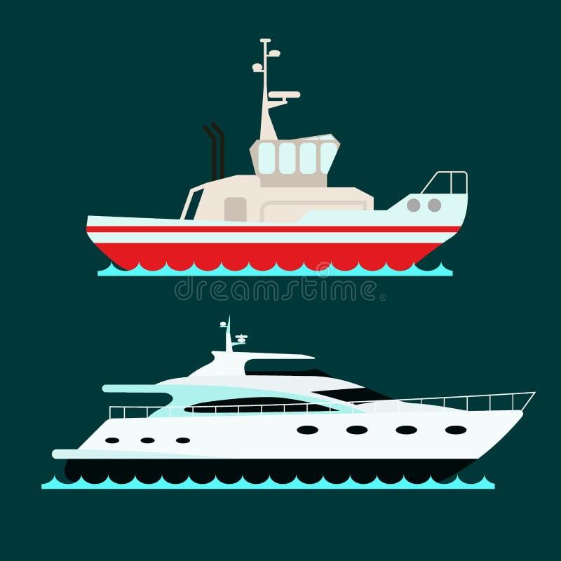 Le barche a vela di vettore dell'industria di viaggio dell'imbarcazione di simbolo del mare del crogiolo di incrociatore della na illustrazione vettoriale