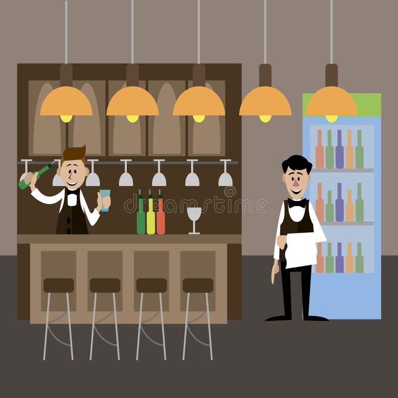 Le barman et le serveur dans le café illustration de vecteur
