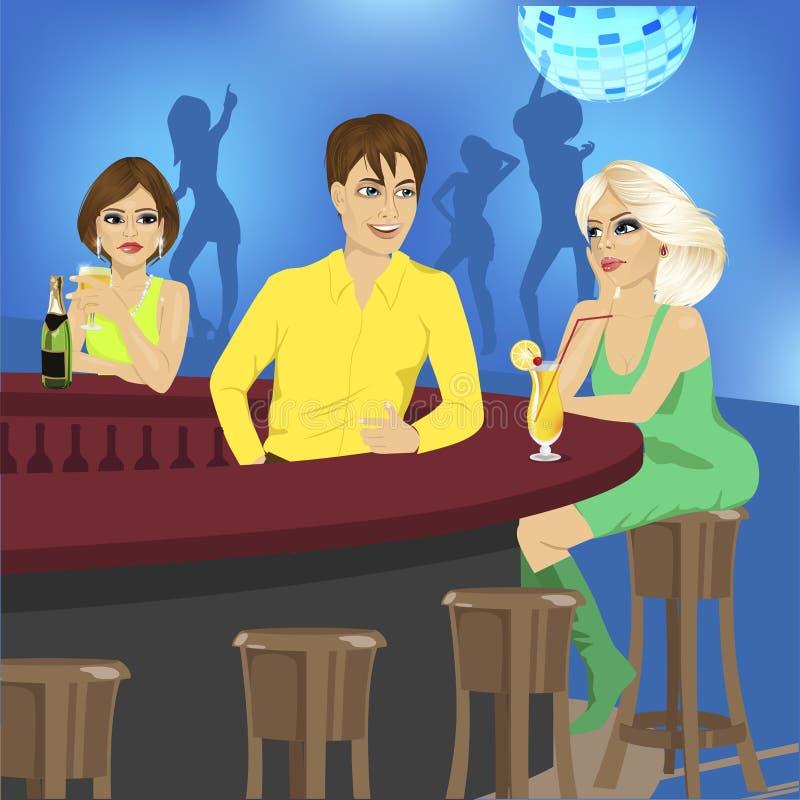 Le barman parle à la séance blonde au compteur de barre tandis qu'une autre femme la regarde jalousement illustration stock