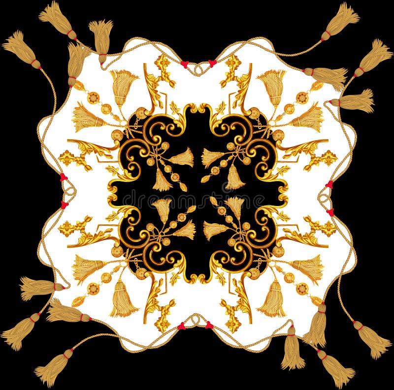 Le baroque d'or dans la conception d'écharpe de corde d'or de cru d'éléments d'ornement illustration libre de droits