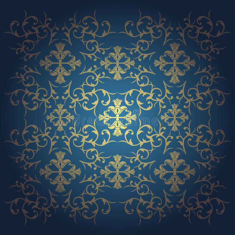 Le baroque de vecteur fleurit le bleu de fond illustration stock