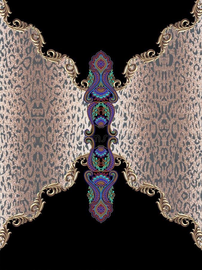 Le baroque géométrique de broderie de noir animal d'impression photographie stock