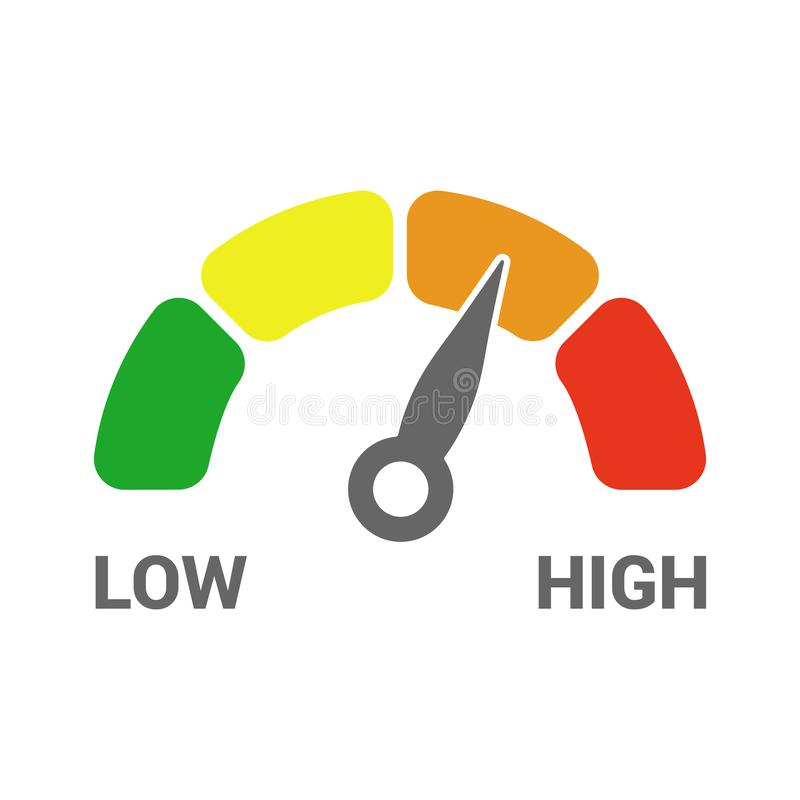 Le bas à l'icône élevée de tachymètre de mesure d'échelle de mesure du vert à rouge d'isolement illustration stock