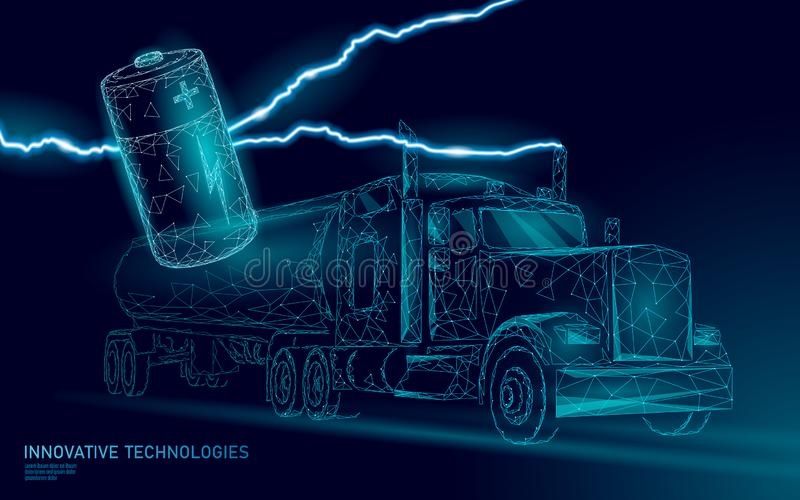 Le bas électrique de camion de batterie de puissance poly Remorque rechargeable d'affaires de transport de vert d'environnement é illustration stock