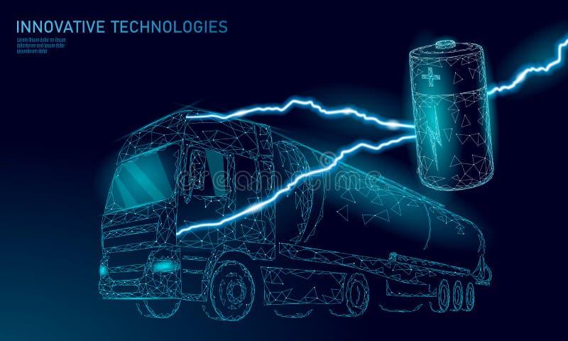 Le bas électrique de camion de batterie de puissance poly Remorque rechargeable d'affaires de transport de vert d'environnement é illustration libre de droits