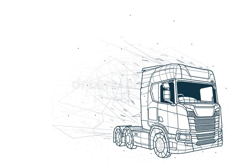 Le bas abstrait poly Wireframe de camion illustration libre de droits
